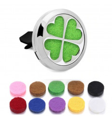 Clip-on car perfume diffuser + 10 blotters - 4-leaf clover pattern