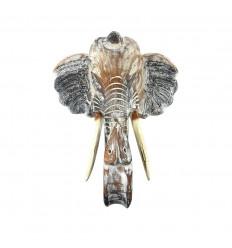 Tête d'éléphant en bois 40cm, trophée de chasse mural - Taille M