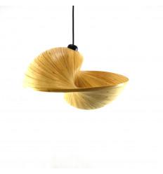 Lampadario / Sospensione in Bambù Srotolato di Design Ø 30cm - Modello Coï - Creazione Artigianale - Faccia