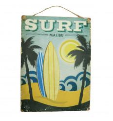 Plaque murale artisanale en bois Surf Malibu 40x30cm
