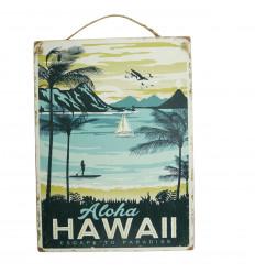 Plaque murale artisanale en bois Aloha Hawaii 40x30cm