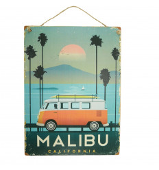 "Handcrafted wooden wall plaque ""Malibu California"" 40x30cm"