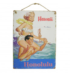 "Handcrafted wooden wall plaque ""Hawaii Honolulu"" 40x30cm"