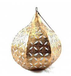 Moroccan pendant / chandelier in golden wrought iron ethnic oriental style