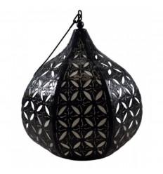 Suspension / Lustre marocain en fer forgé et tissu style oriental ethnique