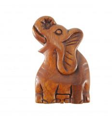 Boîte à Secrets Éléphant en bois de suar teinté