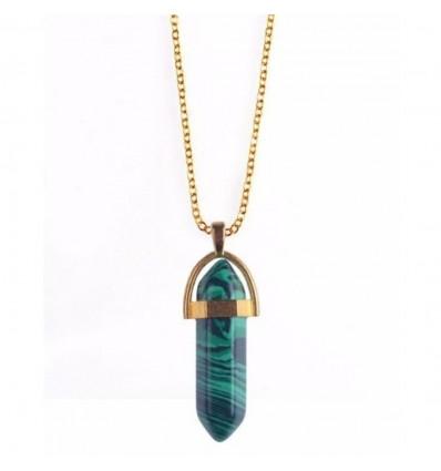 Collier avec pendentif pointe en Malachite naturelle. Protection, guérison et clairvoyance.