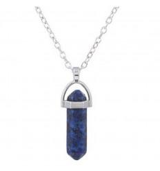 Collier avec pendentif pointe en Lapis Lazuli naturel. Bonne humeur, Amitié.
