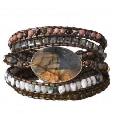 Multi-pierre leather Wrap bracelet - Labradorite