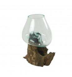 Vase en verre soufflé sur racine de teck 30cm - Pièce unique
