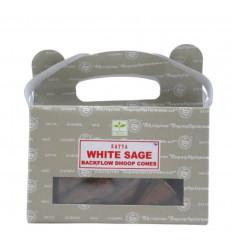 Box of 24 incense cones Backflow White Sage - Natural Indian Incense Satya Sai Baba