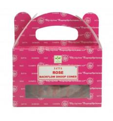 Boîte de 24 cônes d'encens Backflow Rose - Encens indien naturel Satya Sai Baba