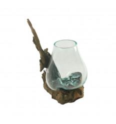 Vase en verre soufflé sur racine de teck 38cm - Pièce unique