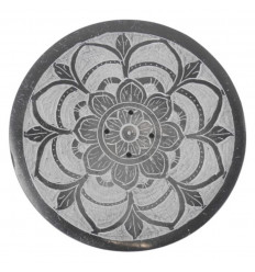 Black and white round incense holder in soapstone - Mandala symbol
