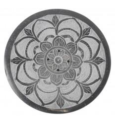 Porta incenso rotondo in bianco e nero in pietra ollare - simbolo Mandala