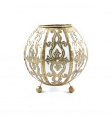 Lampe de chevet style lanterne marocaine en fer forgé doré et tissu blanc ⌀10cm - face