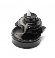 Black ceramic incense fountain - Cascade Zen