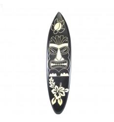 Grande planche de surf en bois - Décoration murale motif Tiki 100cm