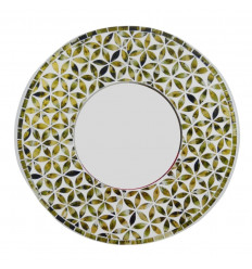 Large round mirror life flower pattern green color 50cm - face