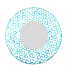 Large round mirror life flower pattern blue color 50cm