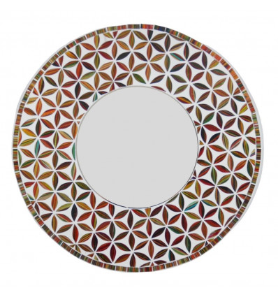 Large round mirror life flower pattern red color 50cm - face