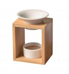 """Brucia profumo """"KALOS"""" in bambù e ceramica nera"""