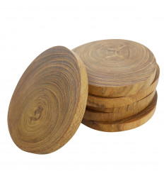 Round coasters in clear natural mother-of-pearl marquetry star pattern