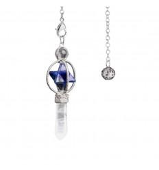 Pendule Merkaba en Lapis Lazuli et pointe Cristal de roche.