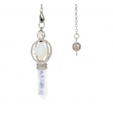 Merkaba pendule in Opalite and rock crystal tip