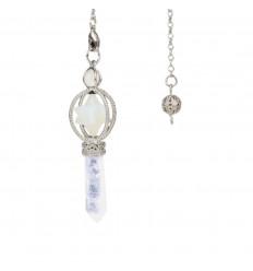 Pendolo merkaba in Opalite e punta in cristallo di rocca