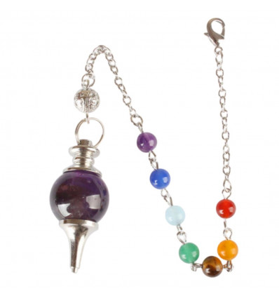 Pendulum séphoroton amethyst and 7 chakras. Esotericism, magnetism.