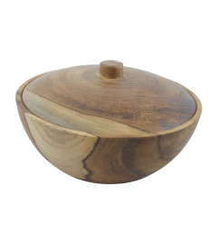 Bowl with lid / Empty bag in solid teak - 15cm - face