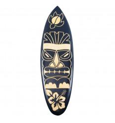 Planche de surf en bois - Décoration murale motif Tiki 50cm - face