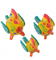 Lot of 3 red yellow wooden hens