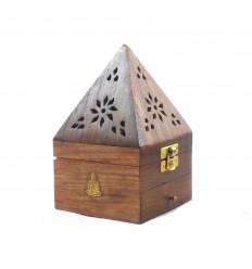 Scatola incenso per coni - porta incenso con decorazione Buddha cassetto a forma di piramide - 3/4