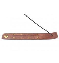 Porte-encens en bois motif Yin Yang - pour batons