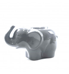 Brûle parfum éléphant en céramique artisanale grise - profil