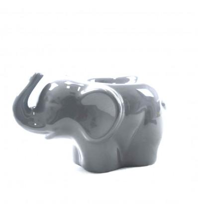 Burning perfume elephant in grey craft ceramic - profile