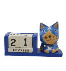 Perpetual Cat Calendar Supereroe Blue Wood - Captain America