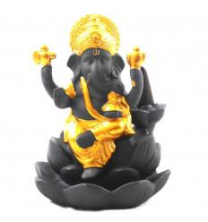 Fontaine à encens en céramique noire et dorée statuette Ganesh - face