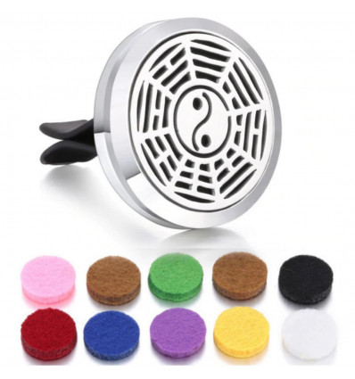 Perfume diffuser for clip car - 10 blotters - Silver Mandala model