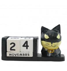 Calendrier perpétuel chat super héros en bois noir - Batman - face