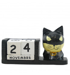 Perpetual cat calendar superhero in black wood - Batman - face