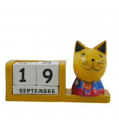Perpetual cat calendar superhero yellow wooden - Superman - face