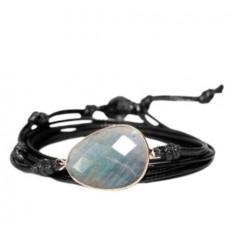 Leather Wrap bracelet - Labradorite
