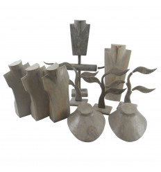 Clearance sales ! Lot of 5 display stands for jewelry second-choice - bois blanc cérusé