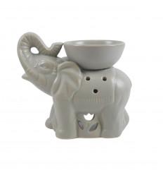 Brûle parfum éléphant indien en céramique artisanale grise