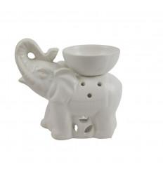 Burning Indian elephant perfume in white craft ceramic