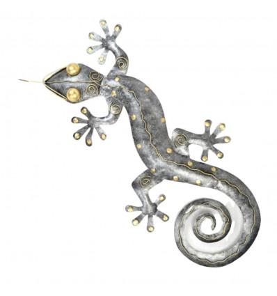 Gecko Margouillat décoration murale en fer forgé artisanal 80cm