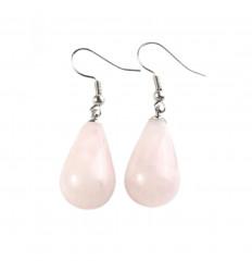 Boucles d'oreilles forme goutte en quartz rose, crochet plaqué argent.
